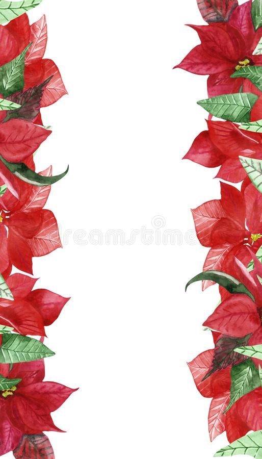 Watercolor hand painted nature christmas vertical banner with red flower poinsettia and green leaves stock illustration