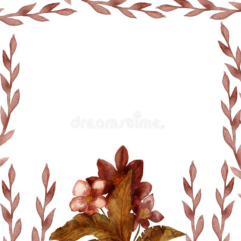 Watercolor hand painted nature frame with vanilla flowers, brown branch. Leaves and beige yellow flowers for invitations and greeting cards vector illustration