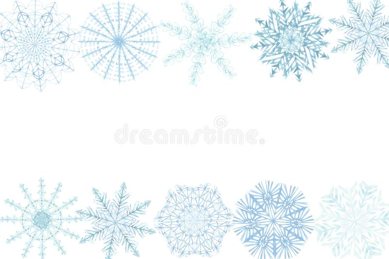 Watercolor hand painted nature winter frozen border banner frame with different blue snowflakes isolated on the white background. For invitations and greeting royalty free illustration