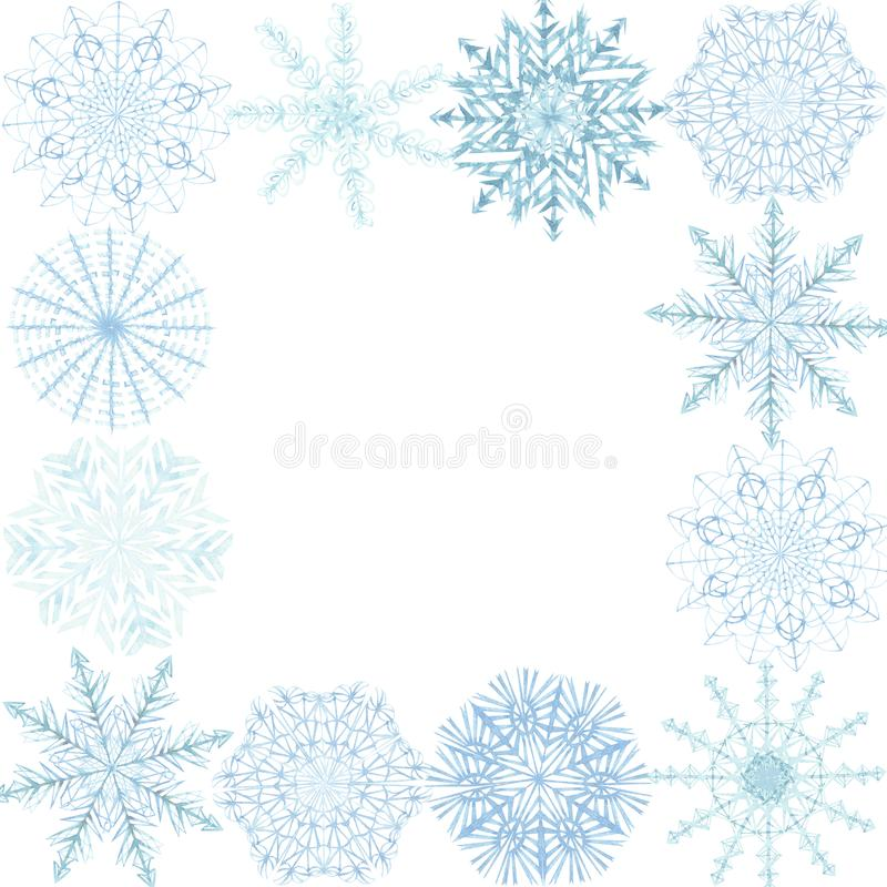 Watercolor hand painted nature winter frozen squared border frame with blue different snowflakes around the edges . Watercolor hand painted nature winter frozen vector illustration