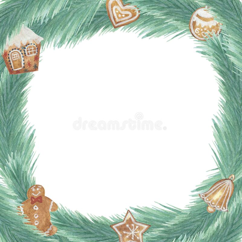 Free Watercolor Hand Painted Nature Winter Season Squared Border Frame With Green Fir Branches And Gingerbread House, Heart, Ball, Bell Stock Images - 196220124