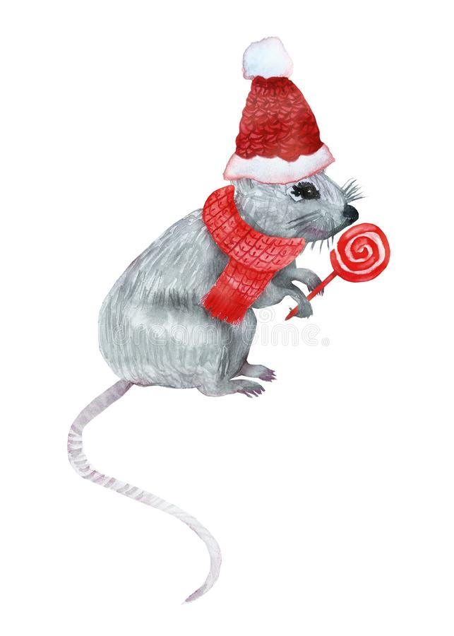 Watercolor hand painted new year christmas gray mouse symbol of 2020 year stock illustration