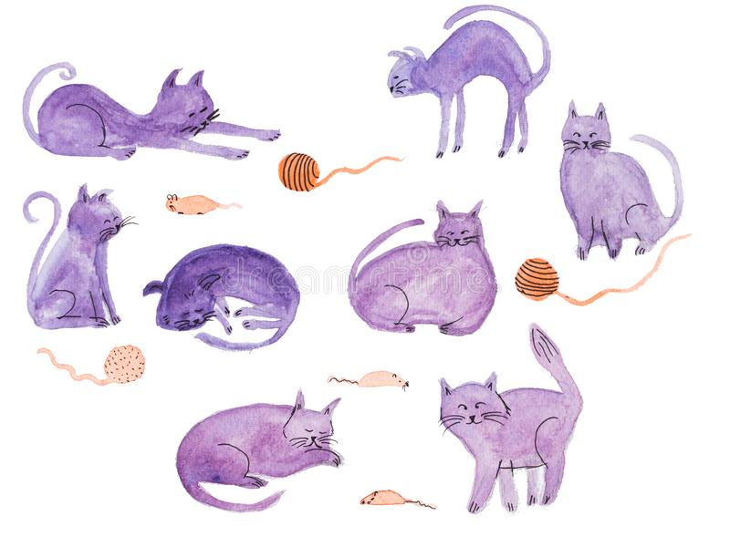 Watercolor hand painted purple cats and mouses illustrations isolated on white vector illustration