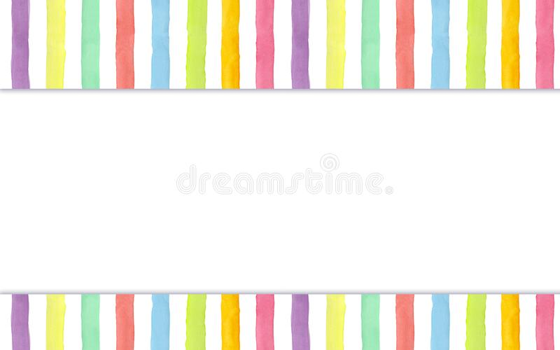 Watercolor hand-painted rainbow stripes background - header & footer for your site. Watercolor hand-painted rainbow stripes background. Colorful summer header & stock illustration