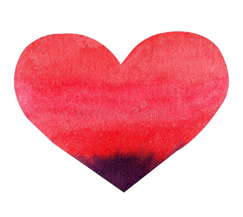 Watercolor hand painted red heart. Symbol of love. royalty free stock images