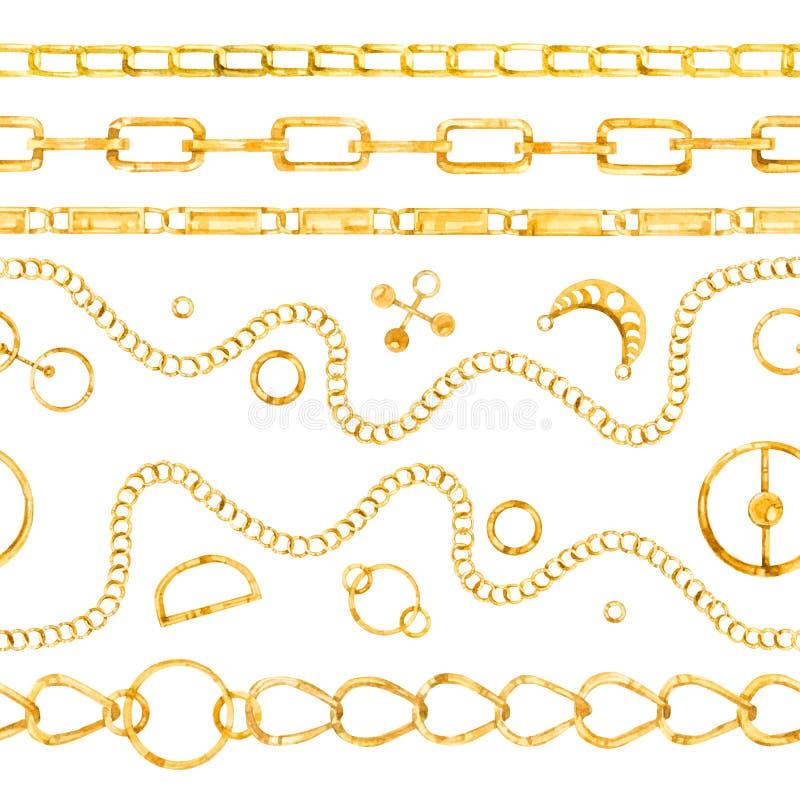 Watercolor seamless pattern golden chain. Watercolor hand painted seamless pattern golden chain stock illustration