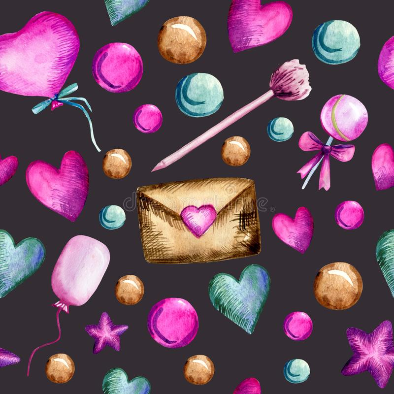 Watercolor hand painted seamless pattern with hearts, balloons, lollipops, stars, envelopes, pens, and bubbles on dark violet royalty free illustration