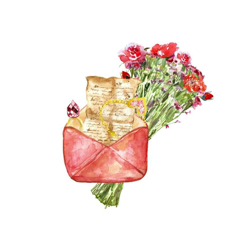 Watercolor hand painted set with love letter, floral bouquet with red pretty flowers , gemstone ring, necklace as gift stock illustration