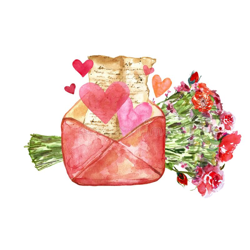 Watercolor hand painted set with love letter, hearts and floral bouquet with red pretty flowers as gift royalty free illustration