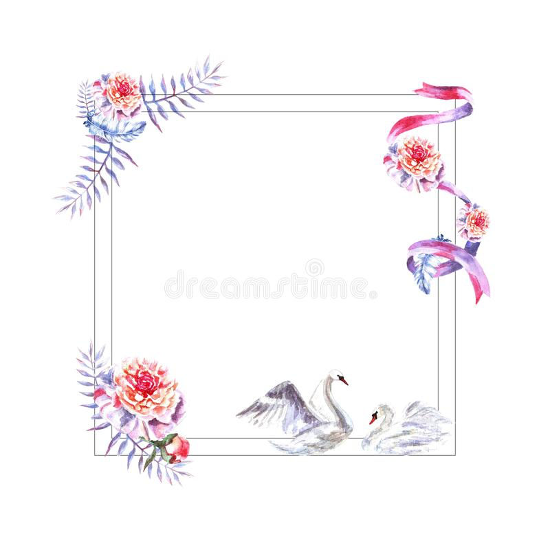 Watercolor hand painted square frame of feathers, peonies, twigs, swans, ribbon vector illustration