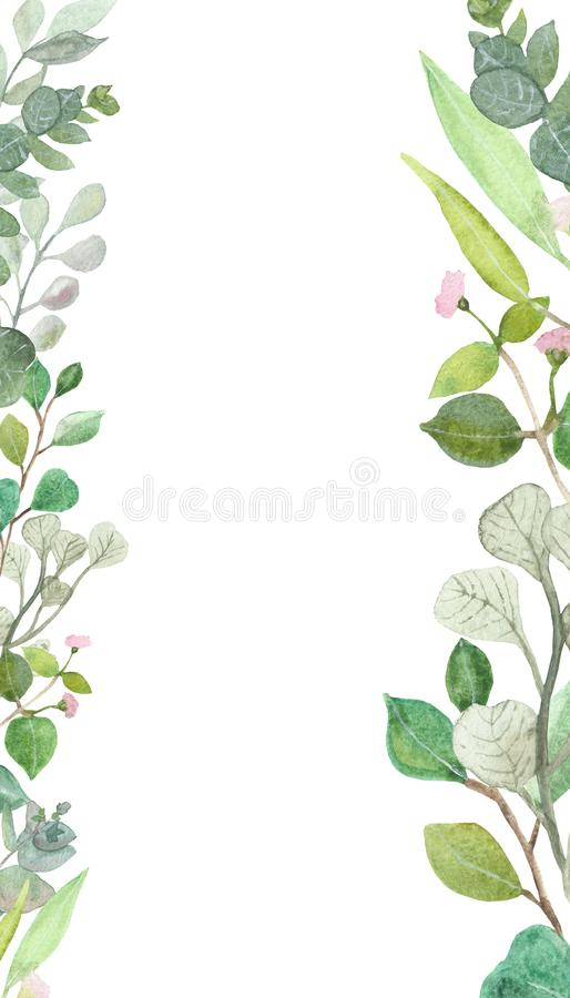 Watercolor hand painted square frame with silver dollar eucalyptus leaves and branches. Medicinal herbs for wedding invitation, save date or greeting design vector illustration
