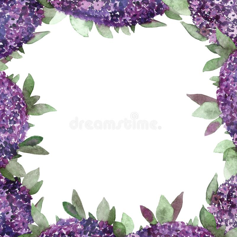 Watercolor hand painted summer nature border frame with purple flowers and green leaves and branches for invitations and greeting vector illustration