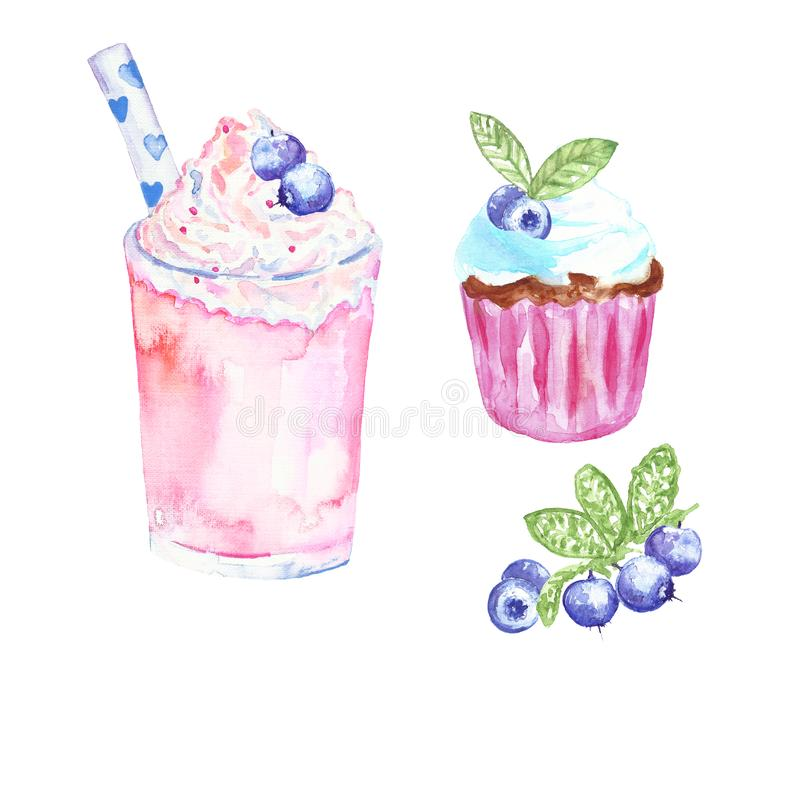 Watercolor hand painted milk cocktail and cupcake with berries. fruit desserts illustration, isolated on white background. vector illustration