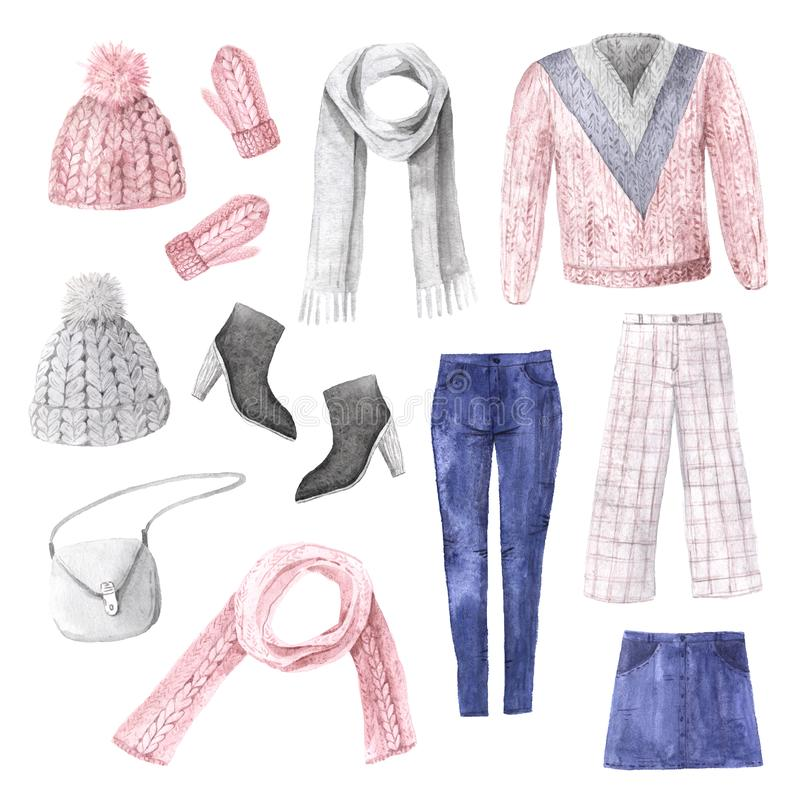 Watercolor hand painted winter cute clothes set. Knitting hat, mittens, scarf, sweater, bag, pants in pastel pink color. Warm feminine trendy accessory stock photography