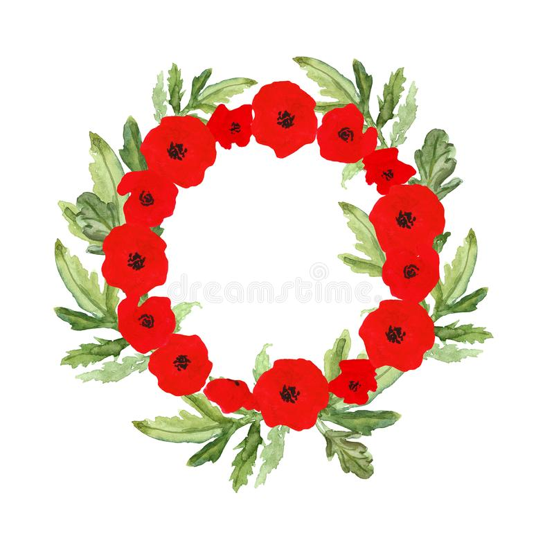 Watercolor hand painted wreath with red poppy flowers, 4th of July, Independence day symbol, Memorial day patriotic decor. Decorative wreath with red poppies and royalty free stock photo