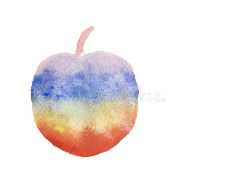 Watercolor hand painting illustration of colorful rainbow of abstract apple fruit, isolated and clipping path on white background royalty free illustration