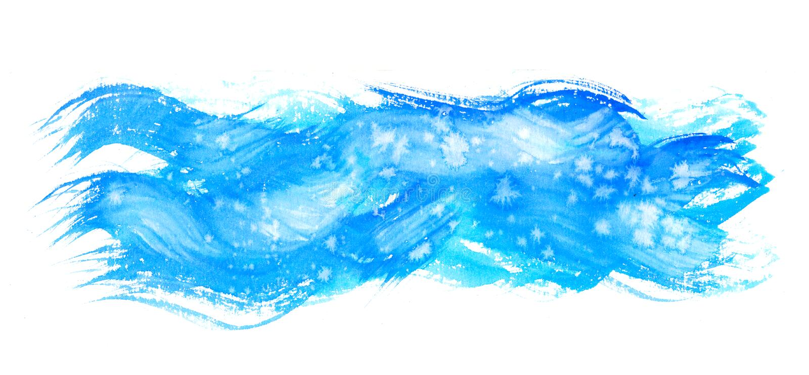 Watercolor hand painting textures.Blue Stains,spot drops,splashes stock illustration