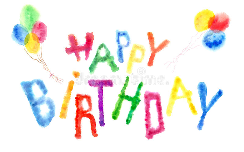 Watercolor Happy Birthday Letters And Balloons Stock Illustration