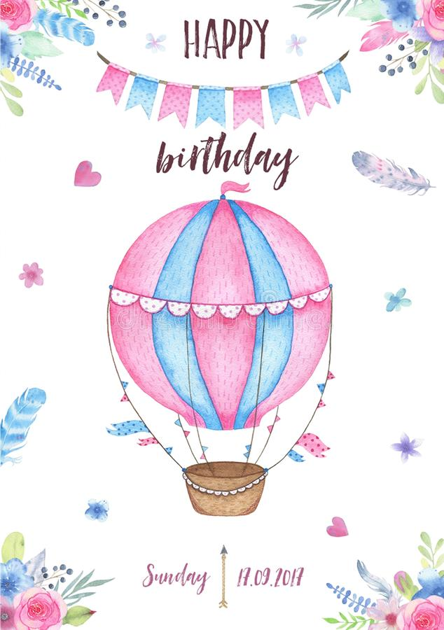 Watercolor happy birthday party card invitation with air balloon garland and flowers bouquets feathers royalty free illustration