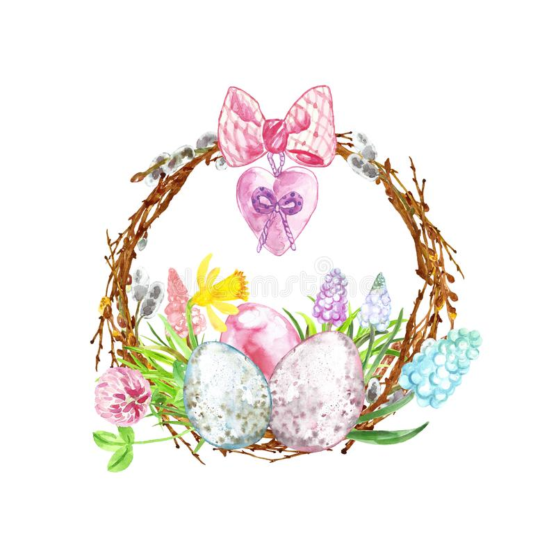 Watercolor Happy easter decoration. Hand painted  wreath with colored eggs, tree branches and colorful spring flowers royalty free illustration