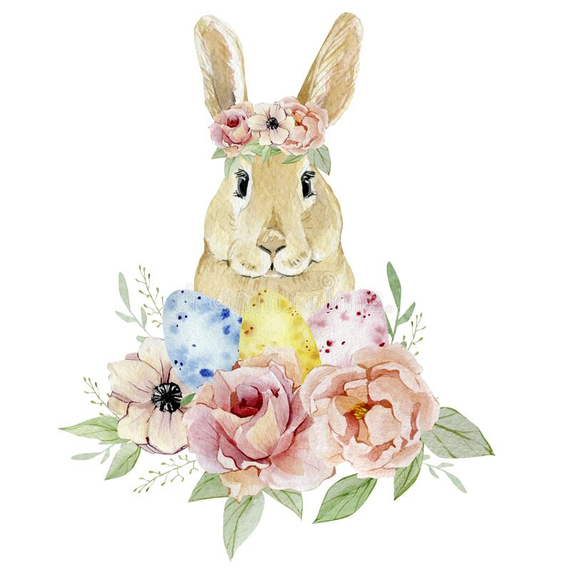Free Watercolor Happy Easter Egg Nd Funny Bunny With Botanical Flowers Clipart. Vintage Easter Illustration For Greating Card, Banner, Royalty Free Stock Image - 170074106