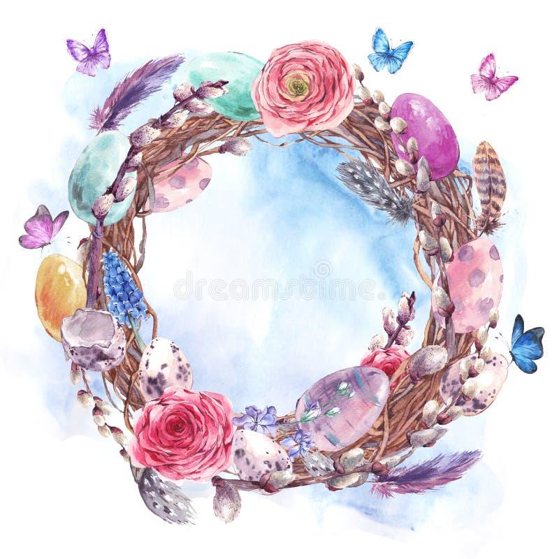 Watercolor Happy Easter wreath, spring bouquet vector illustration