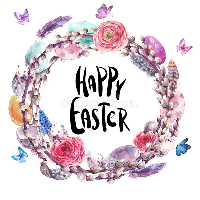Watercolor Happy Easter wreath, spring bouquet royalty free illustration