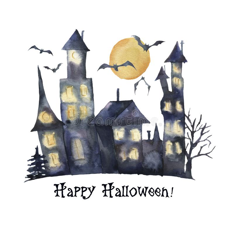 Watercolor Happy Halloween card. Hand painted Castle with glowing windows, bats isolated on white background. Holiday vector illustration