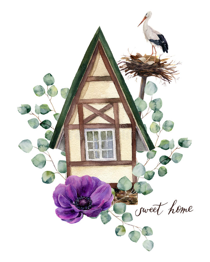 Watercolor happy home label. Watercolor house in Alpine style with white stork and nest, eucalyptus silver dollar and anemone royalty free illustration