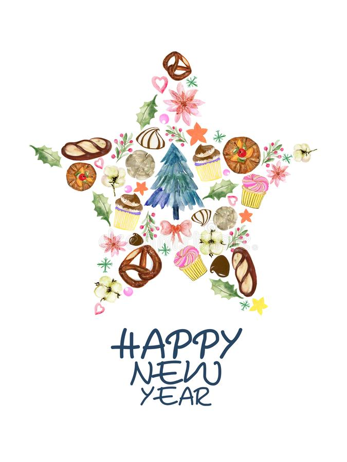 Free Watercolor Happy Party Set Hand Drawn  Celebration Cupcake Bread Chocolate Tree Snowflake Star Fall Autumn Seasons Design Stock Images - 164339134