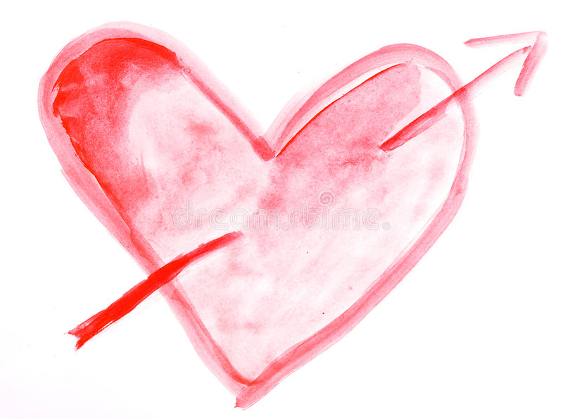 Watercolor heart stock photography