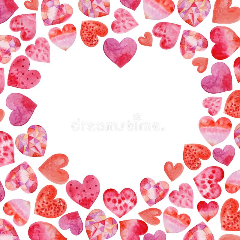 Watercolor heart background with hearts. For your design royalty free stock photos