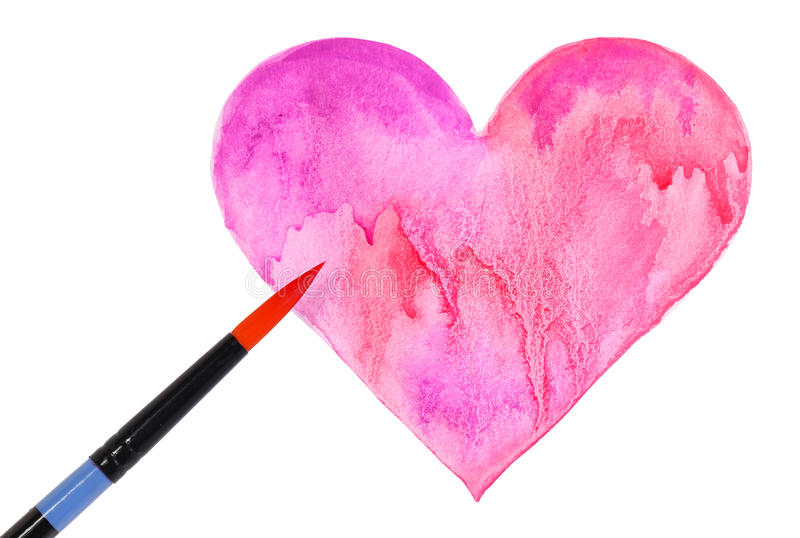 Watercolor Heart and Brush isolated on white. Valentines Day stock image