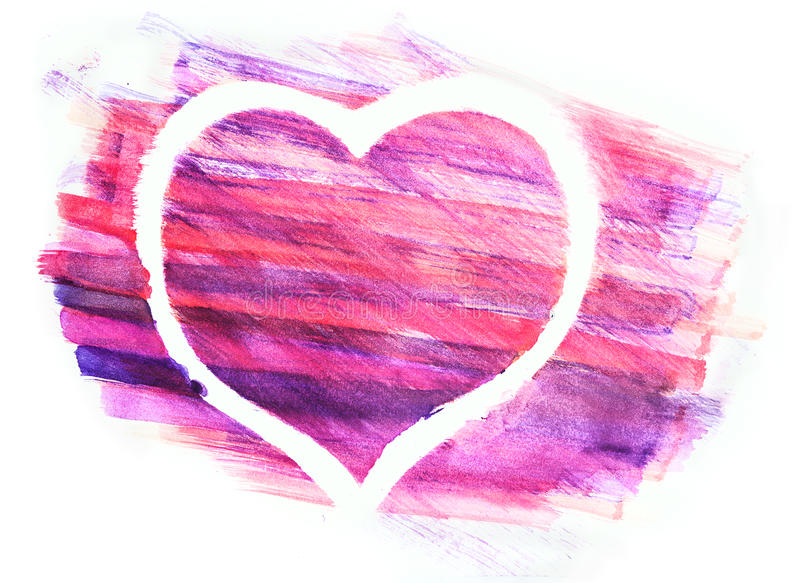 Watercolor heart painted on white paper. royalty free stock photos