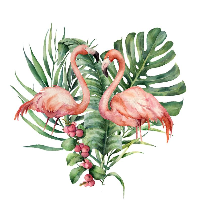 Watercolor heart with palm leaves and flamingo. Hand painted exotic bird, coconut and banana branch, monstera, berries vector illustration
