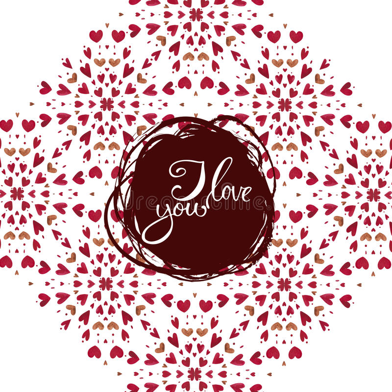 Download Watercolor Heart Pattern With Lettering I Love You. Ornament Stock Illustration - Image: 83703844