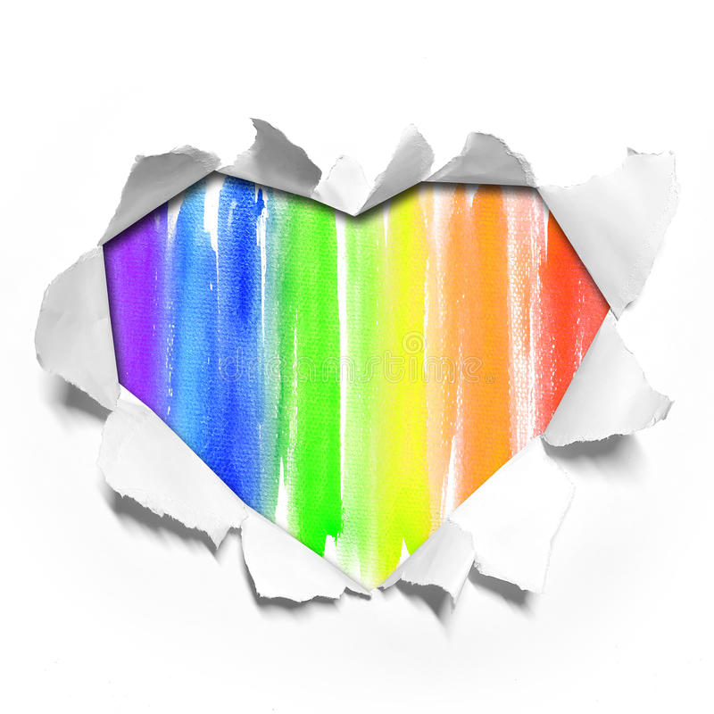 Watercolor Heart shape paper on paper stock photography