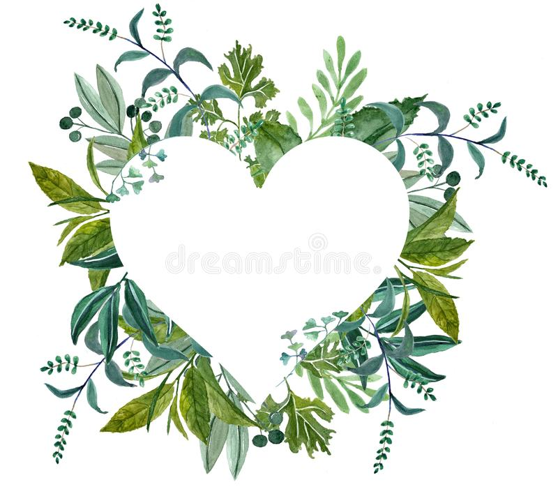 Watercolor heart shape wreath! royalty free illustration