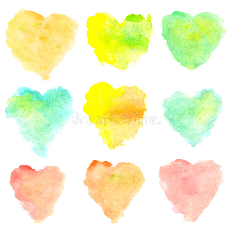 Watercolor heart shaped stains isolated on white background. Set of red, yellow, blue, green, orange hand painted spots royalty free illustration