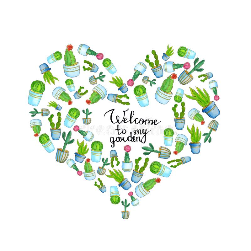 Watercolor  heart template with home plants cactus and hand drawn lettering - welcome to my garden. Collection of house flowerpots royalty free illustration