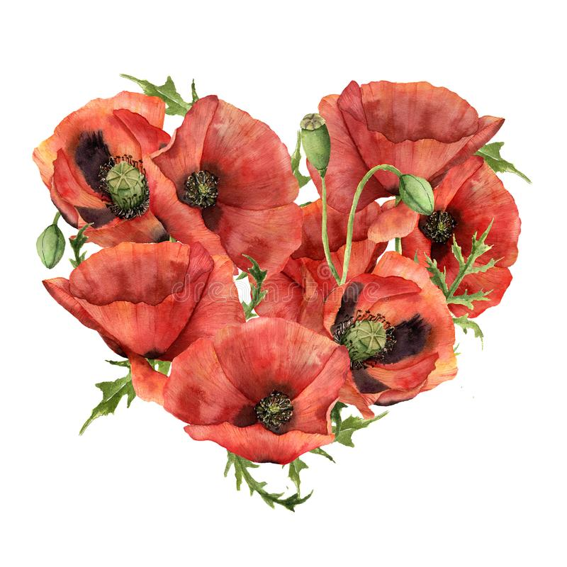 Free Watercolor Heart With Red Poppies. Hand Painted Flowers And Leaves Isolated On White Background. Valentine`s Day Print Royalty Free Stock Images - 108122729