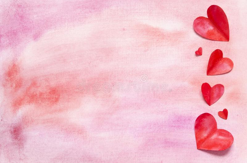 Watercolor hearts and background. Love concept for mother`s day and valentine`s day. Top view. Copy space royalty free stock image