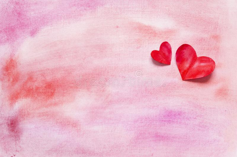 Watercolor hearts and background. Love concept for mother`s day and valentine`s day. Top view. Copy space stock image