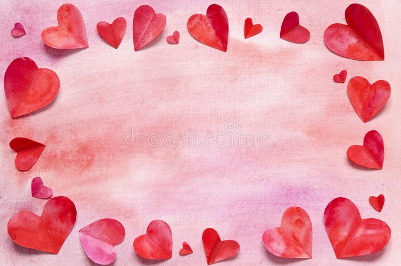 Watercolor hearts and background. Love concept for mother`s day and valentine`s day. Top view. Copy space stock photography