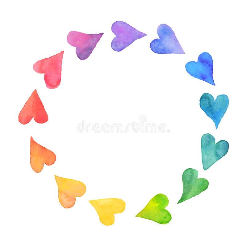 Watercolor hearts frame vector illustration