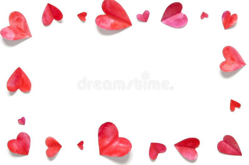 Watercolor hearts. Love concept for mother`s day and valentine`s day. Top view. Copy space stock photos