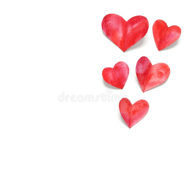 Watercolor hearts. Love concept for mother`s day and valentine`s day. Top view. Copy space royalty free stock photography