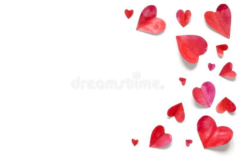 Watercolor hearts. Love concept for mother`s day and valentine`s day. Top view. Copy space stock photo
