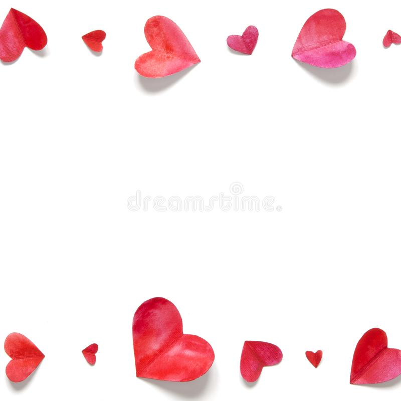 Watercolor hearts. Love concept for mother`s day and valentine`s day. Top view. Copy space stock photography