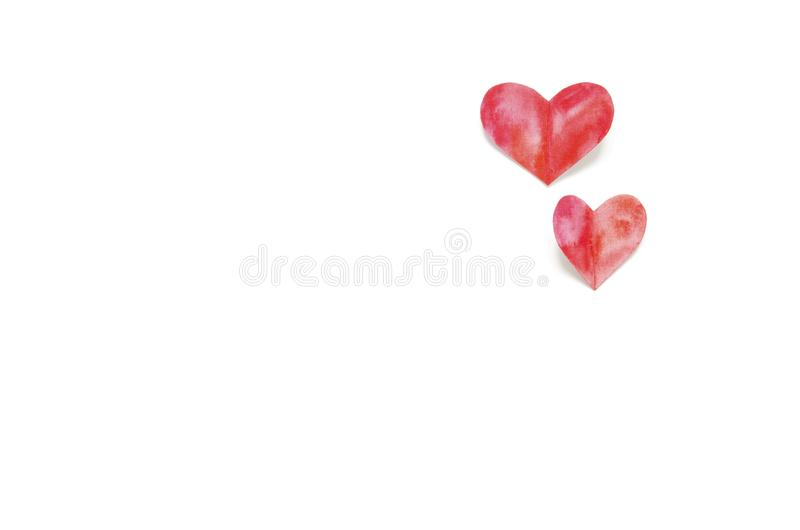 Watercolor hearts. Love concept for mother`s day and valentine`s day. Top view. Copy space royalty free stock photos